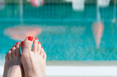 Female Feet with Red Nails Royalty Free Stock Photo