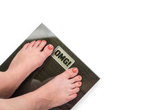 Female feet on scale Royalty Free Stock Photography