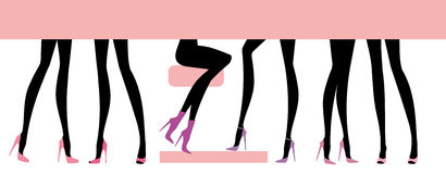Female feet set. Silhouettes female feet in various footwear Stock Photos