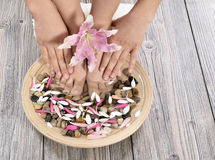 Female feet at spa salon on pedicure procedure Royalty Free Stock Images