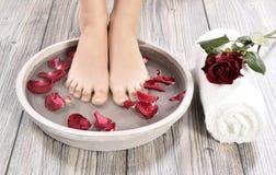 Female feet at spa salon on pedicure procedure Royalty Free Stock Photos