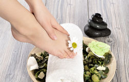 Female feet at spa salon on pedicure procedure Royalty Free Stock Photography
