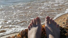 Female feet, toes on a seashell beach, sea and waves. Relaxation concept, summer vacation. POV.  stock video