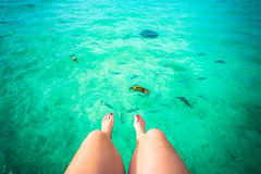Female feet and the tropical ocean Royalty Free Stock Photo