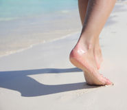 Female Feet on Tropical Sand Beach. Legs Walking. Stock Images