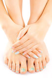Female feet with turquoise pedicure isolated Stock Photos