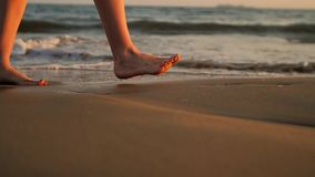 Female feet walking barefoot on sea shore.