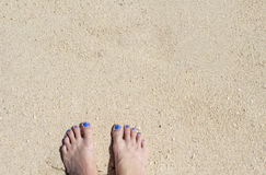 Female feet on white sand. Coral beach by sea. Sunny tropical seaside. Stock Image