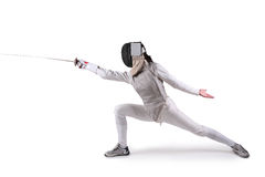 Female fencer. Isolated on white Royalty Free Stock Photo