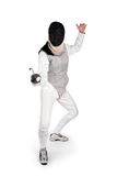 Female fencer. Isolated on white royalty free stock photos