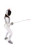 Female fencer. Isolated on white Royalty Free Stock Photography