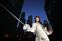 Female Fencer stock image