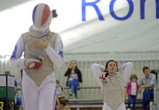 Female Fencer Stock Photo