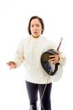 Female fencer gesturing Stock Images