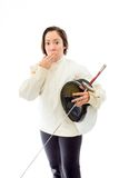 Female fencer hand over her mouth and shock Royalty Free Stock Photos