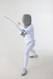 Female fencer isolated on white background Stock Photo
