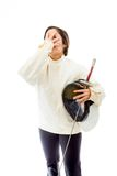 Female fencer looking depressed Royalty Free Stock Images