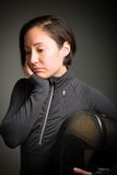 Female fencer looking sad Stock Images