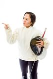 Female fencer pointing Royalty Free Stock Photo