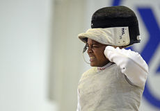 Female Fencer Reaction Royalty Free Stock Photography
