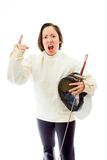 Female fencer scolding Stock Photo
