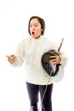 Female fencer scolding Royalty Free Stock Photography