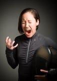 Female fencer shouting Royalty Free Stock Image