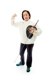 Female fencer showing off her muscle with holding Royalty Free Stock Photography