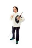 Female fencer showing smiley gesture Stock Photo