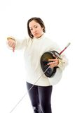Female fencer showing thumbs down sign Royalty Free Stock Photo