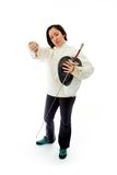 Female fencer showing thumbs down sign Stock Photos