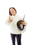 Female fencer showing thumbs up sign Stock Images