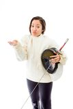 Female fencer shrugging Royalty Free Stock Photos