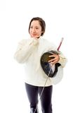 Female fencer thinking with her hand on chin Stock Images