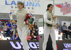 Female Fencer Win Reaction Stock Photography