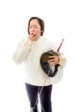 Female fencer yawning Stock Photos
