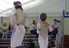 Female Fencing Attack Stock Image