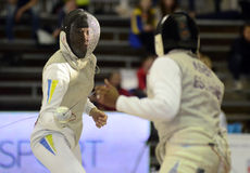 Female Fencing Attack Stock Photos