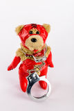 Female fetish teddy in red latex outfit with handcuffs Royalty Free Stock Photos