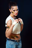 Female fighter Royalty Free Stock Images