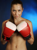 Female fighter brutal. With rught gloves Royalty Free Stock Photos