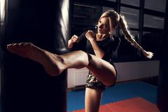 Female fighter hitting heavy bag with her leg. Gorgeous female fighter with blonde hair pulled back in long braid, dressed in black crop top and camouflage Royalty Free Stock Image