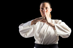 Female fighter performing hand salute Royalty Free Stock Images