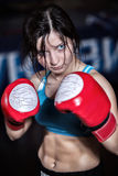 Female fighter posing in combat poses Stock Photography