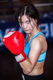 Female fighter posing in combat poses Royalty Free Stock Photos