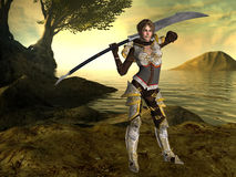 A female fighter with a sword and fantasy background. A 3D rendered image and Digital fantasy character for your creations and or projects with a fantasy Stock Photo