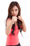 Female fighter, woman boxer posing fighting stance Royalty Free Stock Photos