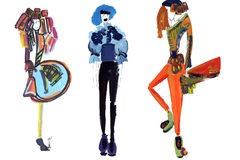 Female figure. abstract, fashion illustration-8. Abstract shapes girls models in clothes made with watercolors Royalty Free Stock Photo