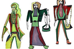 Female figure. abstract, fashion illustration-10. Abstract shapes girls models in clothes made with watercolors Stock Image