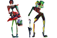 Female figure. abstract, fashion illustration-12. Abstract shapes girls models in clothes made with watercolors vector illustration